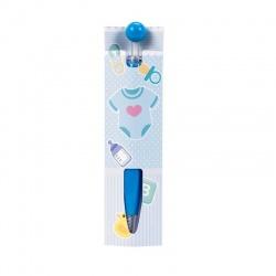 Bolígrafo azul con cartón de bebé