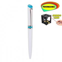 Bolígrafo blanco con detalle azul, grabable a Láser/UVI