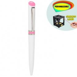 Bolígrafo blanco con detalle rosa, grabable a Láser/UVI