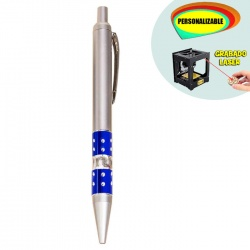 Bolígrafo plateado con detalle azul con brillantes