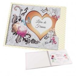Libro de firmas para boda con corazón y flores