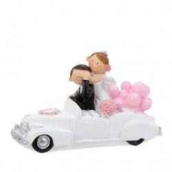 Figura de novios para tarta de boda en descapotable