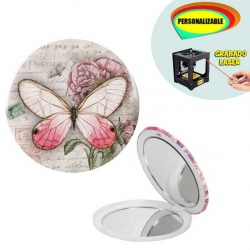 Espejo romántico con mariposa, grabable a láser