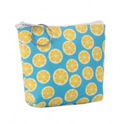 Monedero azul con limones