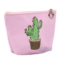 Monedero rosa con cactus
