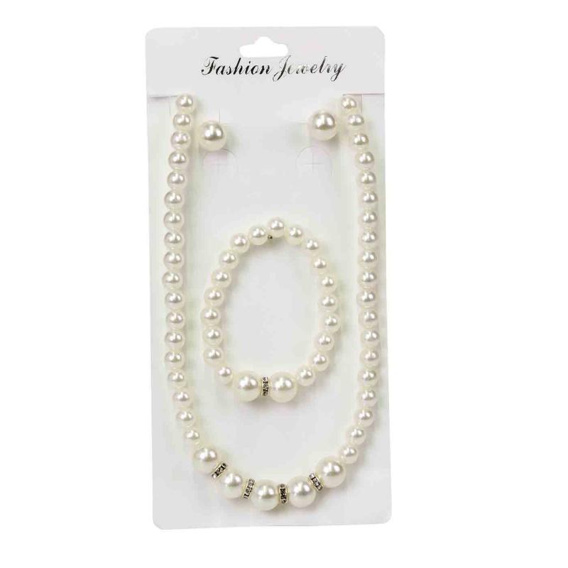 Conjunto de perlas; Pendientes, Collar y Pulsera