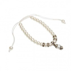 Pulsera ajustable de perlas con colgante y brillantes