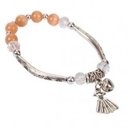 Pulsera de metal con perlas naranjas y colgante de vestido