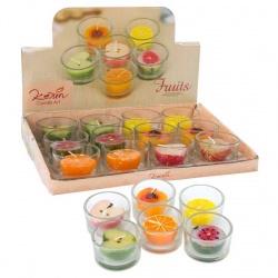 Velas de frutas en vaso de cristal, caja 12 uds.