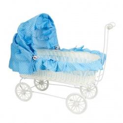 Carrito de bebé azul, regalo decorativo