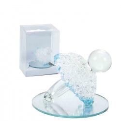Chupete de cristal decorativo con detalles azules