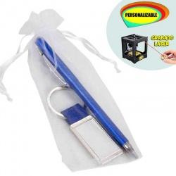Bolígrafo azul y llavero grabable a láser