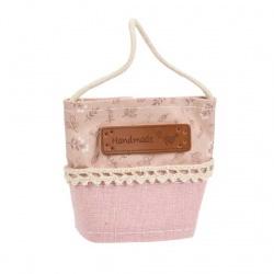 Bolsita para regalos rosa de tela hecha a mano