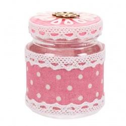 Tarro de plástico para regalos con tela de rosa con lunares
