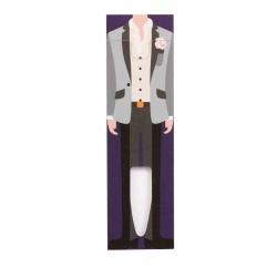 Cartón para bolígrafo con traje de caballero