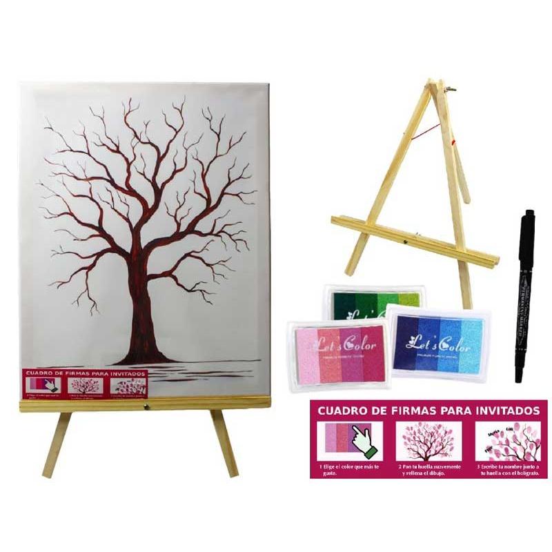 Lienzo árbol de las huellas con caballete, pinturas y bolígrafo para firmas