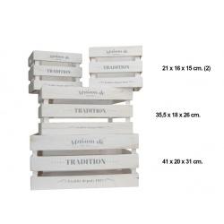 """Conjunto de 4 cajas de madera """"Tradition"""""""