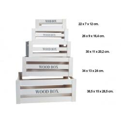 """Conjunto de 5 cajas de madera """"Wooden box"""""""