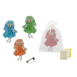 Broche de muñeca sombrero de paja y bolsa de tul
