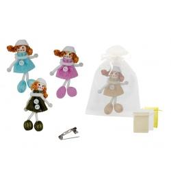 Broche de muñeca vestido de brillo y bolsa de tul