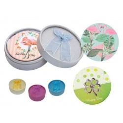Espejo circular con diseños surtidos y caja con lazo