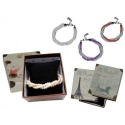 Pulsera triple de perlas blancas / colores y caja con almohadilla