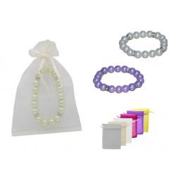 Pulsera de perlas blancas / colores con brillantes y bolsa de tul