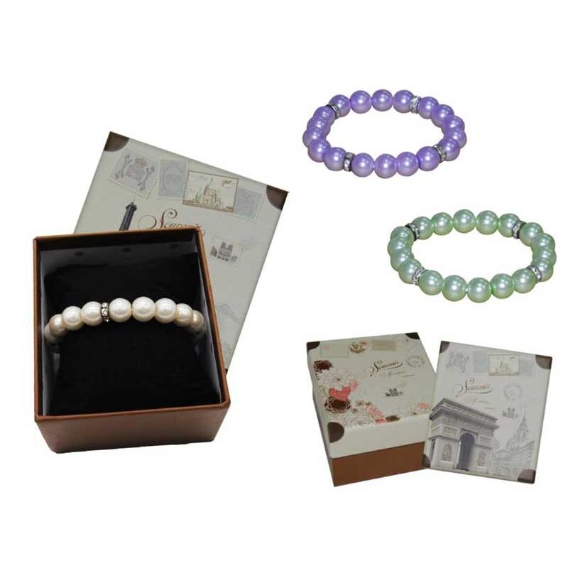 Pulsera de perlas blancas / colores con brillantes y caja con almohadilla
