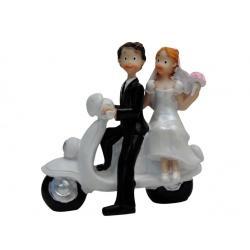 Figura de resina novios en moto para la tarta de tu boda