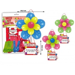 Kit cartel colgador de globos felicidades