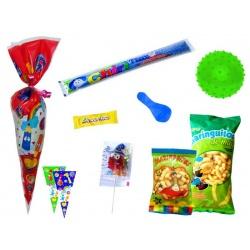 Divertida bolsa con golosinas y balón con pinchos