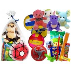 Balón reglamento/voleibol con golosinas y peluche pequeño