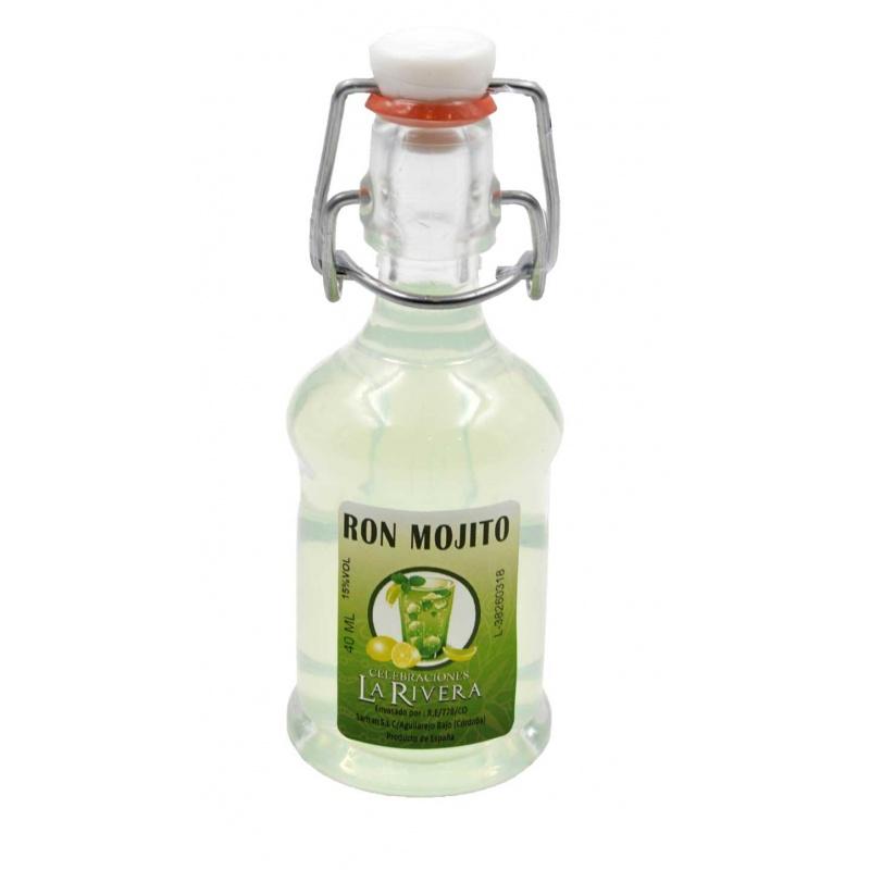 Botellita de licor Ron Mojito 40 ml, modelo Siphón en cristal