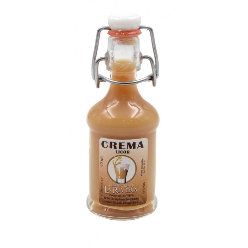 Botellita de licor Crema 40 ml, modelo Siphón en cristal