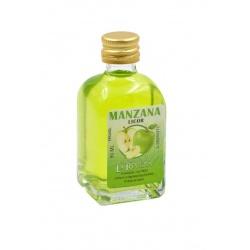 Botellita de Licor de Manzana Verde, 50 ml, modelo Frasca en cristal