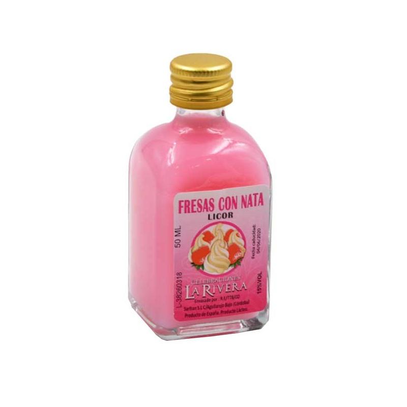 Botellita de Licor de Fresa con Nata, 50 ml, modelo Frasca en cristal