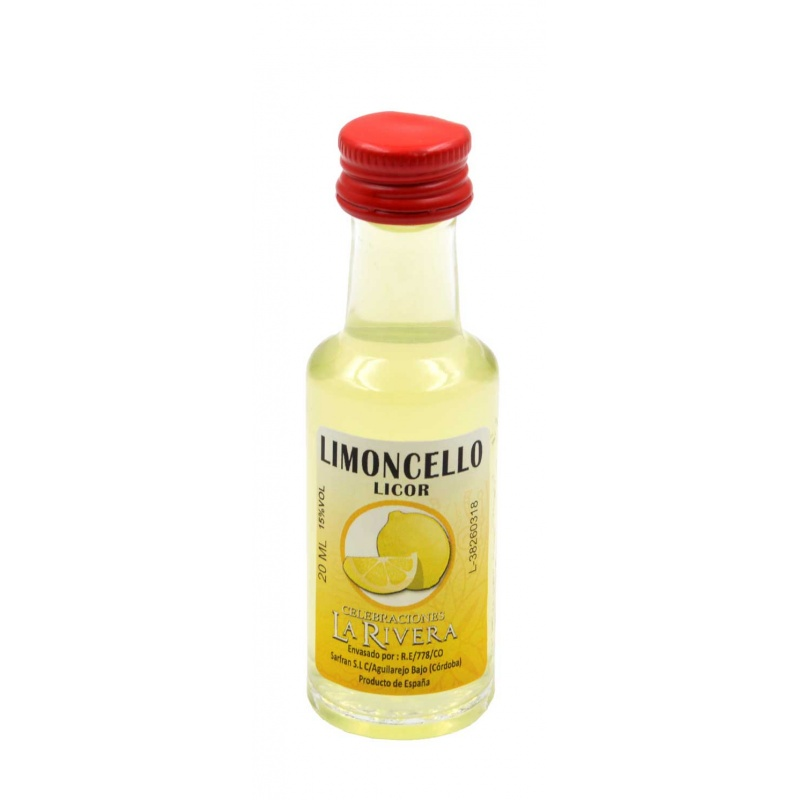 Mini-botellita de Licor Limoncello, 20 ml, modelo Dórica en cristal