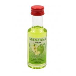Mini-botellita de Licor de Manzana, 20 ml, modelo Dórica en cristal