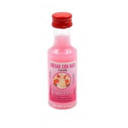 Mini-botellita de Licor de Fresas con Nata, 20 ml, modelo Dórica en cristal