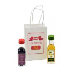 Pack de botellitas de Aceite de Oliva y Vinagre en Bolsa decorada