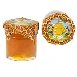 Tarro de Miel de 40 gr, con una divertida pegatina de panel de abejas