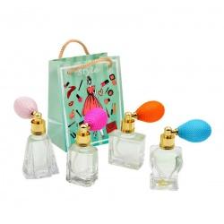 Pack con perfume de azahar, en bote de cristal, y bolsa fashion verde