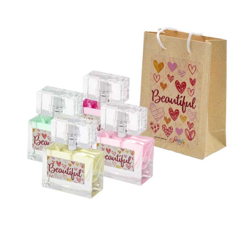 Pack con perfume de vainilla, en bote de cristal, y bolsa decorada