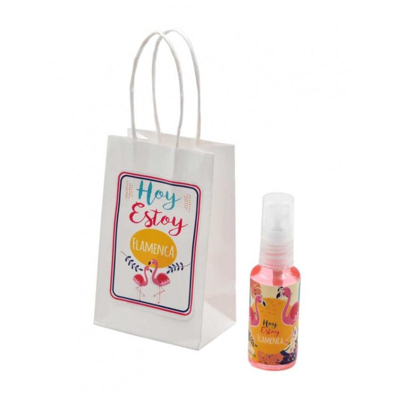 Pack con perfume de rosas, en bote de plástico 30 ml y bolsa decorada