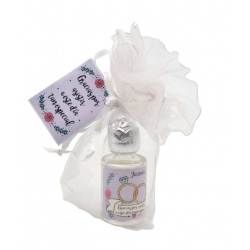 Pack con perfume de jazmín en bote de cristal 10 ml y bolsa de organza