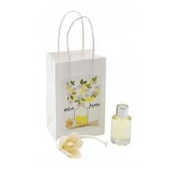 """Pack de ambientador """"Mikado"""" de jazmín con bolsa, en cristal de 10 ml"""
