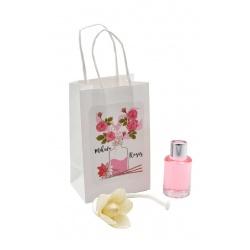 """Pack de ambientador """"Mikado"""" de rosas con bolsa, en cristal de 10 ml"""