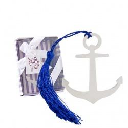 Marcapáginas de ancla con adorno azul