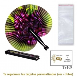 Abanico Pai Pai con diseño de uvas y con bolsa de celofan