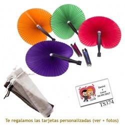 Abanico Pai Pai de colores lisos surtidos y con bolsa de organza
